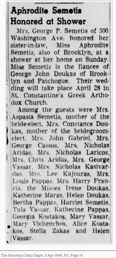 Aphrodite Semetis Honored at Shower, April 5, 1946, Brooklyn Daily Eagle, page 14